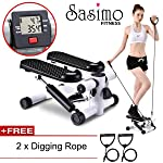 Sasimo Health & Fitness Multifuntional Stepping Machine Mini Elliptical Pedal Stepper with Resistance Bands & LCD Digital...