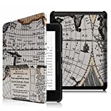Fintie Kindle Voyage Custodia - Ultra Sottile Di Peso Leggero Smart Cover Custodia con sonno auto / sveglia la funzione per Amazon Kindle Voyage, Map White
