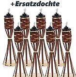 8 Stück Tisch Bambusfackel Braun Gartenfackel mit 8 Stück eingesetzter Dochte inklusive Gratis Ersatzdochte ( Tisch Bambus Fackel + Ersatz Docht ) (8, Braun)