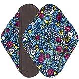 Ularma Reusable Charcoal Bamboo Mama Pads/ Menstrual Pads Cloth/ Sanitary Napkins Pad -Night time protection (M, Blue)
