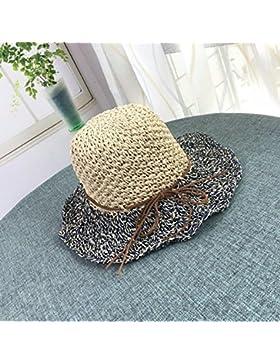 LVLIDAN Sombrero para el sol del verano Lady Anti-sol Gran cara ancha playa azul sombrero de paja