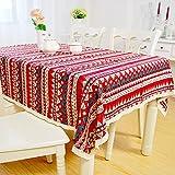 Tischdecke Bohemia Mediterraner Stil Baumwolle Leinen Spitze Retro Colorful Tisch Cover für Esstisch Geburt Party Valentinstag Geschenk, 35.4x55.1 in