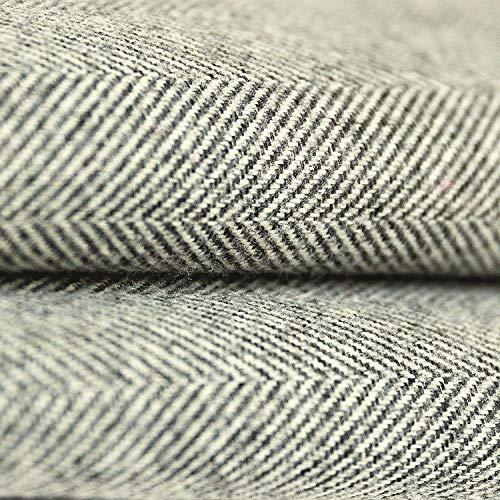 McAlister Textiles Herringbone Tweed   Stoff als Meterware in Anthrazit Grau 140cm Breite   per Meter   traditionelles gewobenes Fischgräten-Muster   Textil für Polster, Kissen, Vorhänge - Grau Fischgrät Wolle