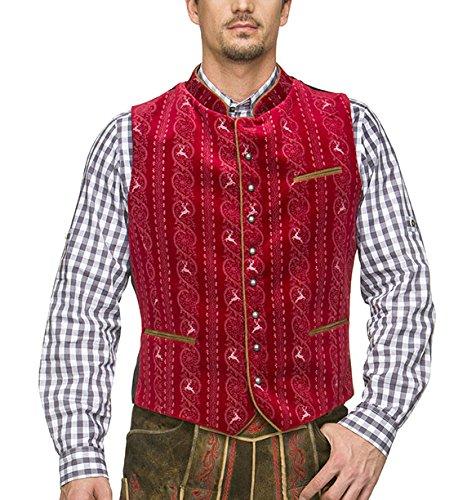 Stockerpoint Herren Trachtenweste Weste Antonio, Rot (Dunkelrot), Large (Herstellergröße: 52)
