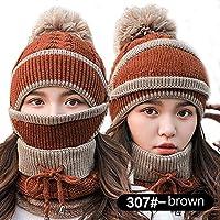China Show Mujer Mode Gris Rayas Invierno Gorro Gorro para Forro Polar Juego Marrón (Sombrero + Máscara + Bufanda)