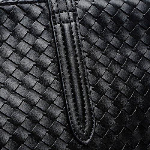 Mefly La Nuova Borsa Di Tessuto Solido Sacchetto Pu Creativo Di Grandi Capacità Grigio black