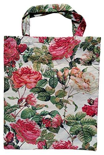 ILKADIM Einkaufstasche, Stofftasche Leinen 40 x 32cm, Motiv Rosen, Einkaufsbeutel Gobelin-Stil