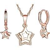 Collar de plata de ley 925 para mujer, colgante de estrella, aretes de estrella, juegos de joyas de estrella, pendientes, oro