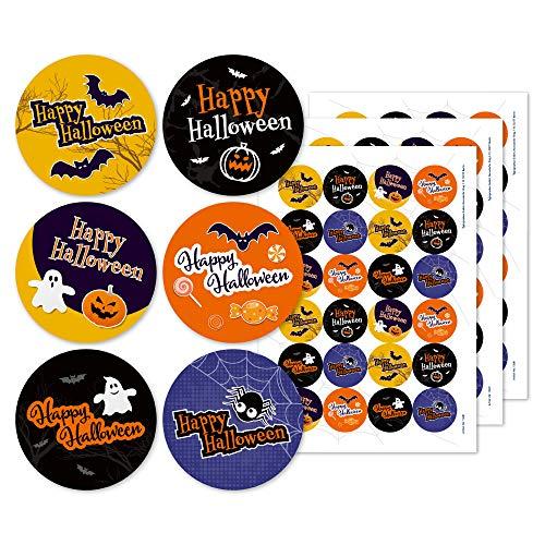 Halloween Sticker Aufkleber Deko Set 72 Stück (Ø 40mm) - zum dekorieren & gestalten - 6 verschiedene Happy Halloween Motive (Halloween-karte, Farbe Happy)