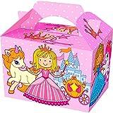 German Trendseller 8 x Prinzessin mit Einhorn Party Boxen mit Griff zum Befüllen ┃ Prinzessin ┃ Kindergeburtstag