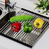 Küche Abtropfhalter Dish Rack Drainer Steel Drying Geschirrtrockengestell,schwarz 19