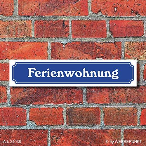 """Preisvergleich Produktbild (24038) Schild im Straßenschild-Design """"Ferienwohnung"""",  3 mm Alu-Verbund - 52 x 11 cm"""