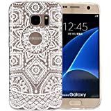 JIAXIUFEN Coque pour Samsung Galaxy S7 Edge Silicone Étui Housse TPU Protecteur - White Tribal Henna
