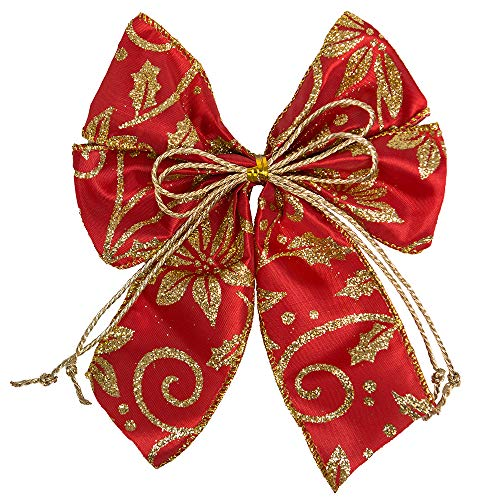 SHGDDYSB 12 Pièces Noeuds de Noël en Noël Bow Décoration Noeud Noel Sapin Pendentif Cadeau Fenêtre Décoration (Rouge)