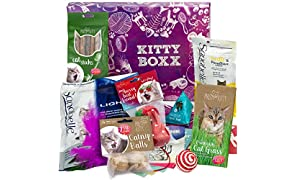 Kitty-Boxx (13 Teile) Geschenk für Katzenliebhaber - Geschenkbox mit Katzenspielzeug, Katzenfutter, Pflegeprodukten, praktischen Tipps & Utensilien als Geschenk für Katzenbesitzer & Katzen