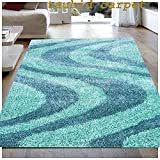 TAUHID CARPET Super Soft Sahgy Collection Indoor Modern Shag Area Silky Smooth Rugs Fluffy Rugs Anti-Skid Shaggy Area Rug For Dining Room Home Bedroom Carpet 2.9 X 5 Feet Green.