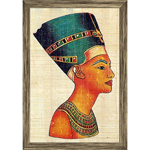 Pitaara Box Queen Nefertiti On Papyrus Canvas Painting Antique Golden Frame 16 X 23.5Inch (Queen-size-split-box)