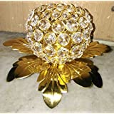 NARULA HANDICRAFTS Designer Crystal Tealight Candle Holder (Colour: Gold)