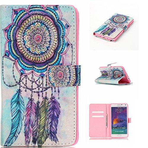 Qiaogle Telefon Case - PU Leder Wallet Schutzhülle Case für Samsung Galaxy Note 4 (5.7 Zoll) - YH19 / Traumfänger + Bunte Halo (Halo 4 Wallet)