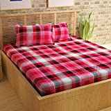 Story@Home 152 TC 100% Cotton Classic Elegant Checks Pattern 1 Pc Double Bedsheet with 2 Pillow Covers Red