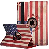 iPad Air 2 Smart Case , elecfan ® 360 Grad Drehbaren PU Leder Hülle Smart Schutzhülle USA Flag Muster Multi Funktion mit Eingebauter Magnet und Standfunktion für iPad Air 2 (iPad Air 2, Flag-USA)