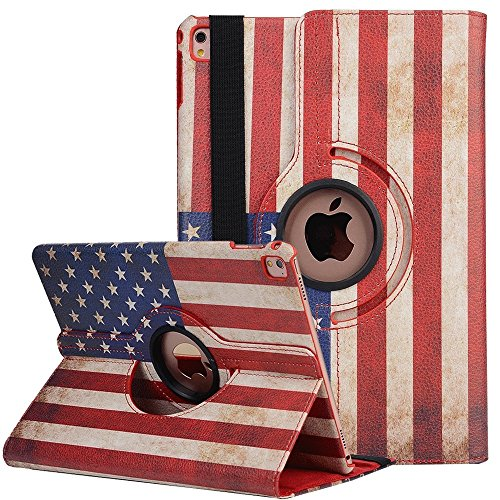 9.7 Zoll iPad 4 Smart Case , elecfan ® 360 Grad Drehbaren PU Leder Hülle Smart Schutzhülle USA Flag Muster Multi Funktion mit Eingebauter Magnet und Standfunktion für iPad 2/3/4 (iPad 2 3 4, Flag-USA)