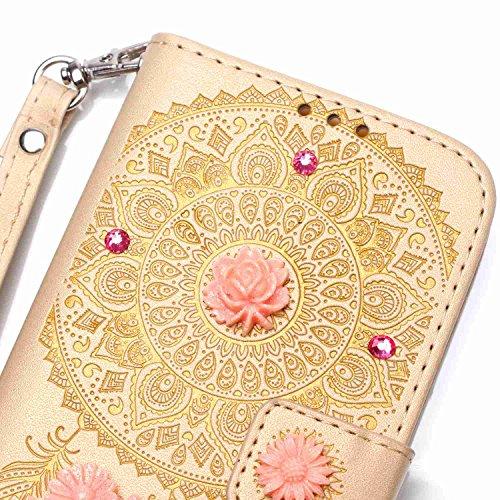 iPhone 7 Hülle,iPhone 7 Case,Cozy Hut ® Ultra Slim Flip Lederhülle / Ledertasche / Hülle / Case / Cover / Etui / Tasche für iPhone 7 / 3D Diamant Strass Bling Glitzer Schmetterlings-Blumen Muster, Pu  golden Campanula