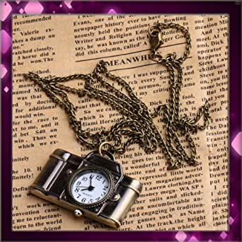 niceEshop(TM) Vintage Style Camera Pocket Watch Locket Pendant Quartz Long Necklace-Bronze