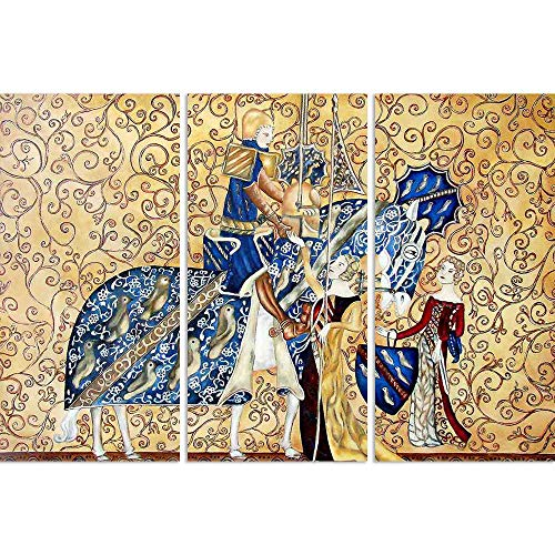 ArtzFolio Medival Artwork with King & Queen Split Art Painting Panel On Sunboard 30 X 20.4Inch (Queen-size-split-box)