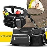 Novopal Buggy Tasche Kinderwagen Organizer mit Schultergurt und Deckel, Universale Kinderwagentasche Aufbewahrungstasche mit Reißverschlusstasche Baby Flaschenhalter und Geldbeutel, schwarz-grau