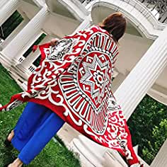 SAIBANGZI Bufandas de Seda de Verano de Las Mujeres Pañuelo de Algodón Chal Bufandas Toalla de