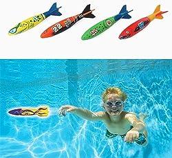 Xiton Untergang Dive Torpedo Poolspielzeug für Kinder, die unter Wasser Schwimmen Tauchen Spielzeug für Sommer Pool Parteien groß Wie 4 Stk parteibevorzugungen