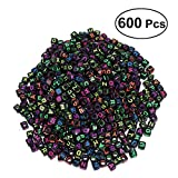 BESTOYARD DIY Colorful Acrylic Alphabet Letter Cube Beads for Jewelry Making (Black, 6 mm)-600 Pieces