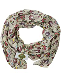New with Tags Beach Huts Print Design Women's Scarves Large Scarfs Shawl (Cream)