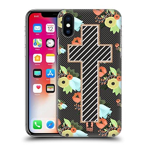 Head Case Designs Bellezza Della Croce Croci Da Collezione Cover Retro Rigida per Apple iPhone X Coce Floreale Cucita