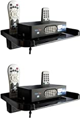 Drizzle TV Set Top Box Stand Black With Remote Holder/Wall Mount Shelf For Wifi Stand & Mobile Charging Dock - Combo Of 2 Pieces