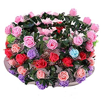 Bodhi2000® Rose Flower Wreath Headband Floral Crown Garland Halo for Wedding (one size, 8pcs)