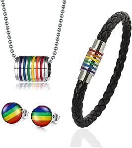Vnox 4 Pezzi di Acciaio Inossidabile per Gay e Lesbiche Arcobaleno Orgoglio Gioielli Fissa,Braccialetto Orecchini Collana