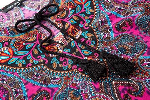 JXLOULAN Bohemian Vintage imprimé style ethnique des femmes d'été lâche robe de plage C
