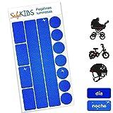 Pegatinas luminosas SafeKIDS, AZUL, 13 unidades para cochecitos de bebé, bicicletas, cascos de ciclista y más