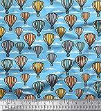 Soimoi Blau Viskose Chiffon Stoff Wolke & Heißluftballon