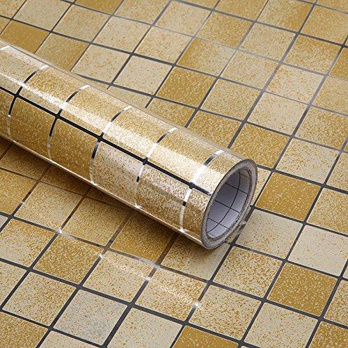 Home-Öl-Öfen (Nachahmung Mosaik Küche Anti Öl Aufkleber Selbstklebende hohe Temperatur der keramischen Fliese wasserfest Feuerfest 0,45 X 5 M, Gold, 0,45 x 5 m.)