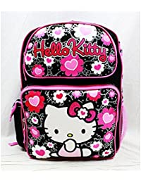 0988dcdbdf Backpack - Hello Kitty - Black Flower Bow Large Girls School Bag New 84011