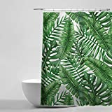 Best Leaf Curtains - Tropical Plants Banana Leaves Bathroom Curtains, 100% Waterproof Review