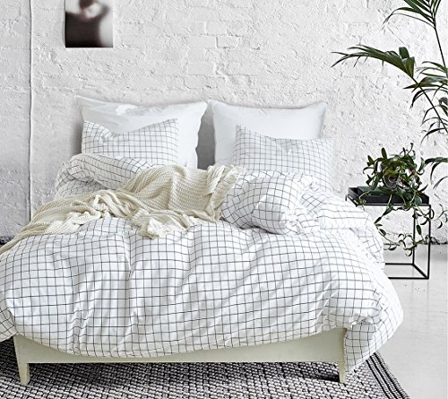 Xiongfeng Sommer-Bettwäsche 135 x 200 cm Türkis aus 100% Polyester – 2-teiliges Kariertes Bettwäsche-Set mit Kissenbezug 80 x 80 cm
