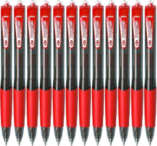 Triple Vivo RT penne Gel, punta retrattile, 0,7 mm, punta Fine, colore: rosso, confezione da 12 (35030)