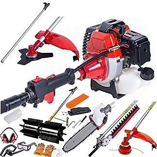 dealourus largo alcance 52Cc Gasolina Multi funcional herramienta de jardín incluye: cortacésped, cortasetos, Power Sweeper, tijeras de podar cortador de cepillo, motosierra y pértiga de ampliación