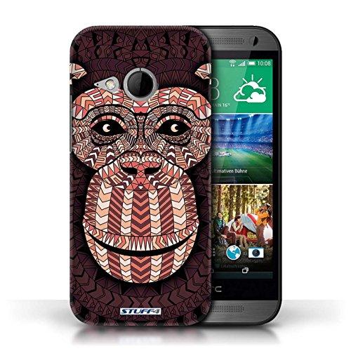 Coque de Stuff4 / Coque pour HTC One/1 Mini 2 / éléphant-Orange Design / Motif Animaux Aztec Collection Singe-Rouge