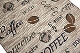 Teppich Modern Flachgewebe Gel Läufer Küchenteppich Küchenläufer Braun Beige Schwarz mit Schriftzug Coffee Cappuccino Espresso Latte Größe 80 x 300 cm - 3