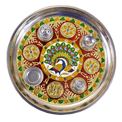 Maitri Creation handicraft handmade pooja thali with kumkum box incense stick holder and diya holder  available at amazon for Rs.389